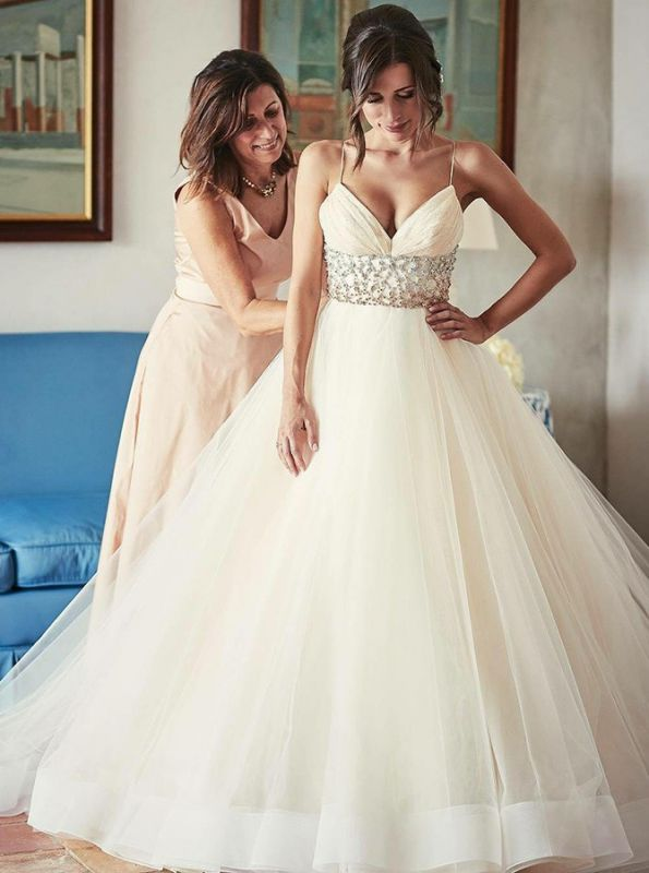 Luxury Tulle Ball Gown Wedding Dresses | Spaghetti Straps Crystals Bridal Gowns