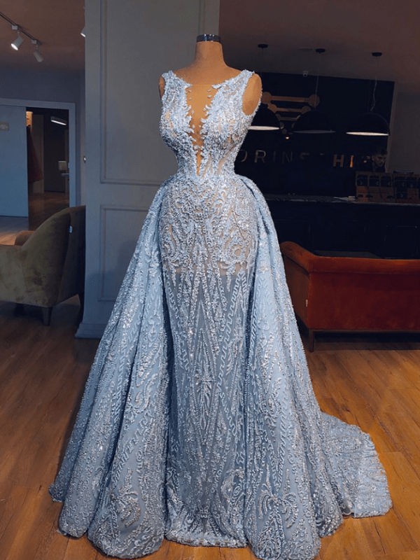Luxury Lace Mermaid Prom Dresses With Over Skirt | Sheer Neck Sleeveless Long Evening Dresses