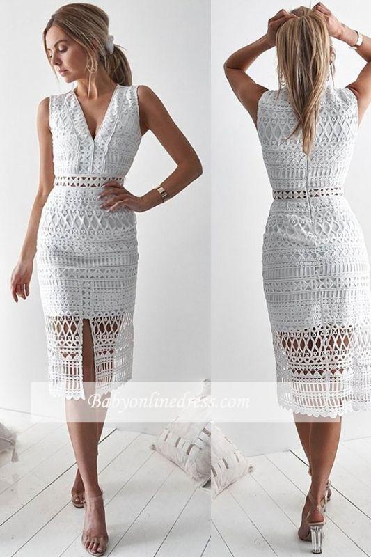 Front-slit Elegant Strap V-neck Sheath Homecoming Dresses