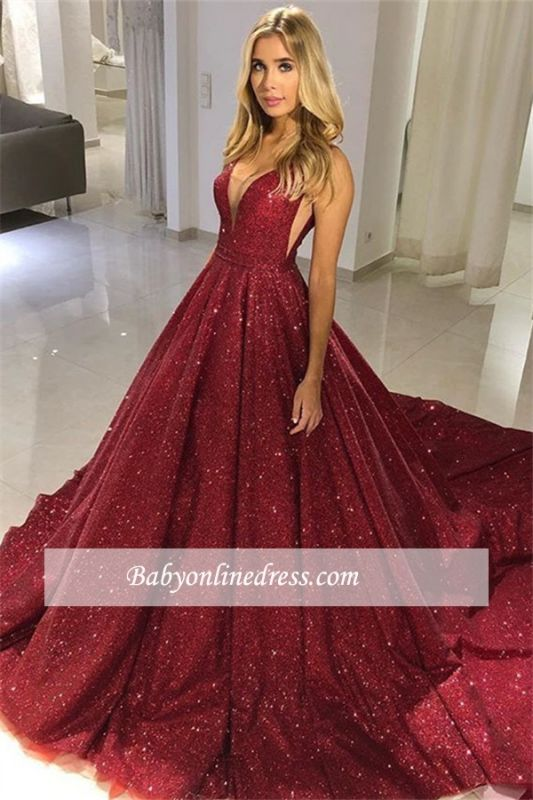 Glittering Burgundy Prom Dress | V-Neck Ball Gown Evening Gowns BC0714