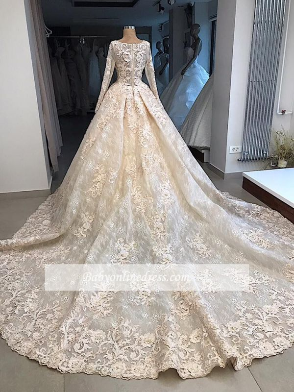 luxurious Scoop Long Sleeves Wedding Dresses | Lace Appliques Ball Gown Bridal Gowns