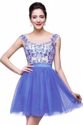 2021 Royal Blue Homecoming Dresses Bateau Neck Open Back Short Party Dresses_3