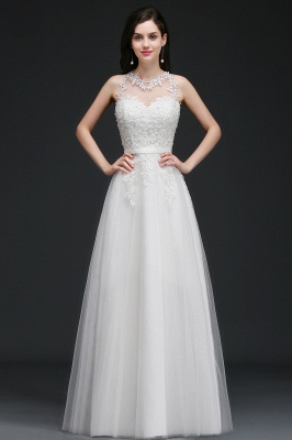 Elegant A-Line Tulle Prom Dresses | Scoop Sleeveless Lace Appliques Evening Dresses BM0133_1