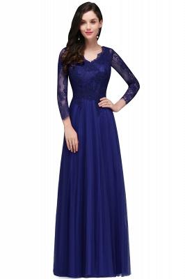 Long-Sleeves V-Neck Floor-Length Burgundy A-line Prom Dresses_1
