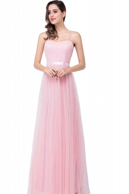 Simple Pink Spaghetti-Straps Open-Back Ruffles A-Line Evening Dress_1