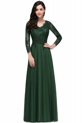 Long-Sleeves V-Neck Floor-Length Burgundy A-line Prom Dresses_3