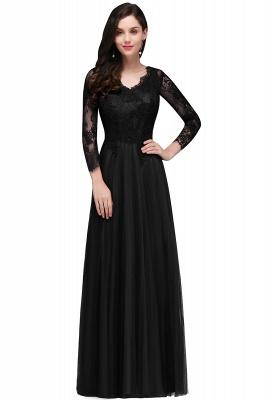 Long-Sleeves V-Neck Floor-Length Burgundy A-line Prom Dresses_2