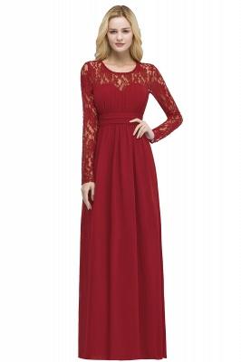 Floor Lace Length Long A-line Sleeves Chiffon Bridesmaid_1