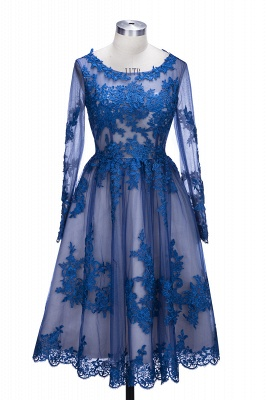 2021 Royal Blue Short Homecoming Dresses Long Sleeves Lace Cocktail Dresses_1