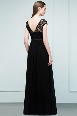 Lace Sleeves Short Floor-length Bridesmaid A-line Dresses with Sash_6