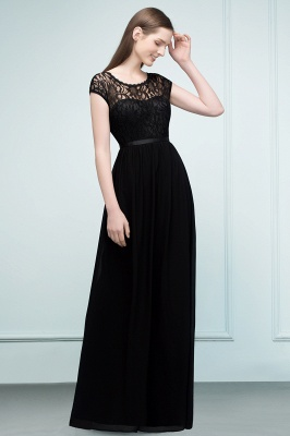 Lace Sleeves Short Floor-length Bridesmaid A-line Dresses with Sash_4