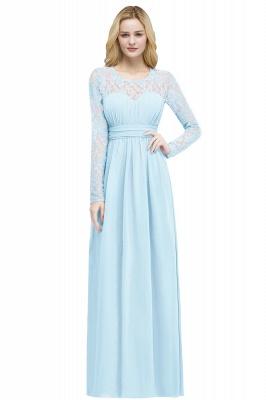 Floor Lace Length Long A-line Sleeves Chiffon Bridesmaid_2