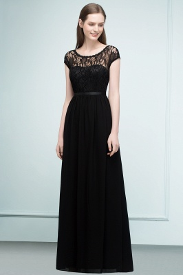 Lace Sleeves Short Floor-length Bridesmaid A-line Dresses with Sash_3
