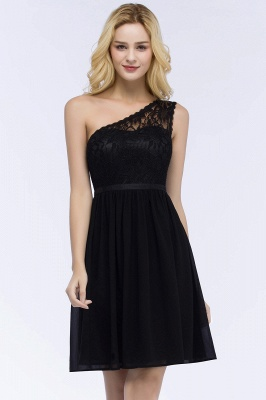 Short Lace One-shoulder Top Chiffon Homecoming A-line Dresses with Sash_4