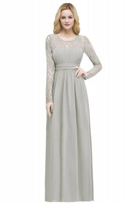 Floor Lace Length Long A-line Sleeves Chiffon Bridesmaid_4