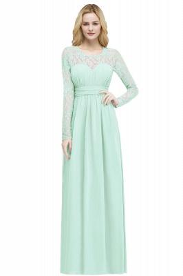 Floor Lace Length Long A-line Sleeves Chiffon Bridesmaid_5