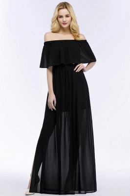 Chiffon Off-the-shoulder Length A-line Black Floor Bridesmaid Dresses_1