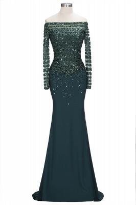 Sequins Long-Sleeves Dark-Green off-the-Shoulder Mermaid Evening Dress_1
