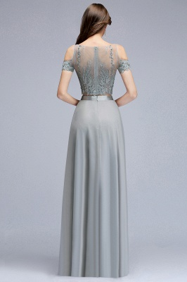 A-Line Appliques Silver Exquisite Chiffon Two-Pieces Bridesmaid Dresses_2
