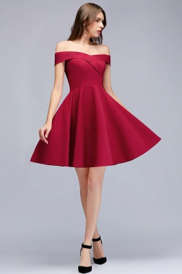 A-Line Length Knee Off-the-Shoulder Sweetheart Homecoming Dresses_1