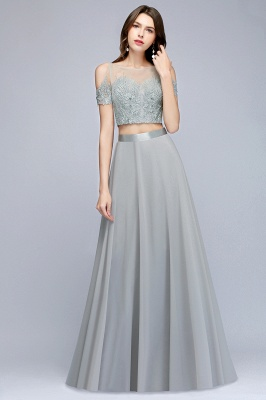 A-Line Appliques Silver Exquisite Chiffon Two-Pieces Bridesmaid Dresses_1