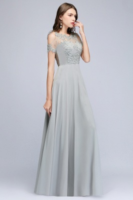 Appliques Scoop Cheap Cold-Shoulder Silver Beaded A-Line Bridesmaid Dresses_2