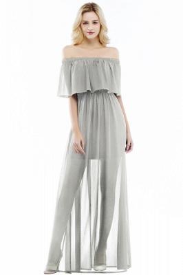 Chiffon Off-the-shoulder Length A-line Black Floor Bridesmaid Dresses_3