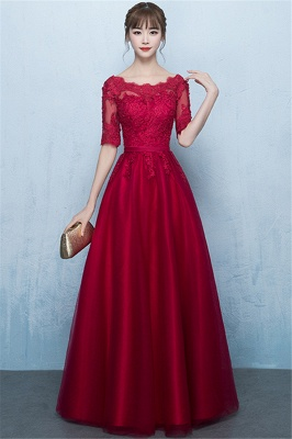 A-Line Lace Lace-Up Floor-Length Half-Sleeves Glamorous Evening Dresses_1
