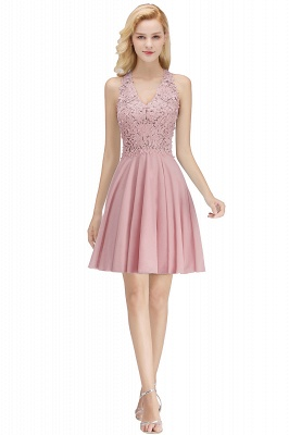 Cheap A-Line Homecoming Dresses | Sexy Lace Beading Short Chiffon Cocktail Dresses_1