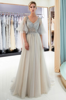 Sparkly Beading A-Line Evening Dresses | V-Neck Trumpet Sleeves Tulle Prom Dresses_2