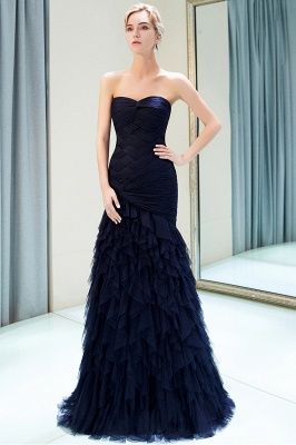 Elegant Dark Navy Mermaid Evening Dresses | Sweetheart Ruched Tiered Prom Dresses_1