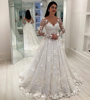 Glamorous V-Neck Long Sleeves Wedding Dresses   A-Line Appliques Long Bridal Gowns_2