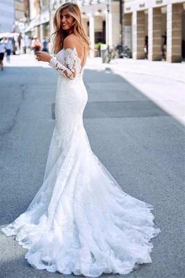Elegant Long Sleeves White Lace Wedding Dresses | Mermaid  Appliques Floor Length Bridal Gowns_2