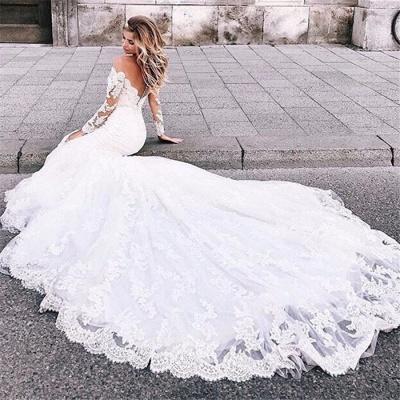 Elegant Long Sleeves White Lace Wedding Dresses | Mermaid  Appliques Floor Length Bridal Gowns_4