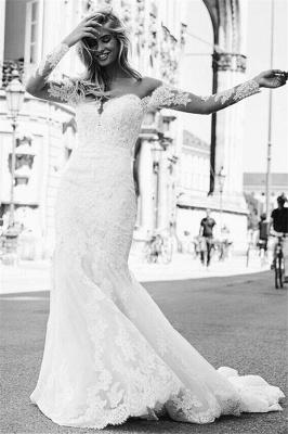 Elegant Long Sleeves White Lace Wedding Dresses | Mermaid  Appliques Floor Length Bridal Gowns_3