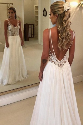 Gorgeous Sleeveless Backless Wedding Dress | Chiffon Appliques A-Line Bridal Gowns_2