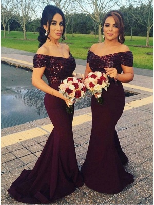 2021 Sexy Off-The-Shoulder Mermaid Long Sleeves Short Sequins Prom Dress_3