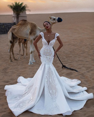 Luxurious V-Neck Cap Sleeves Wedding Dresses | Mermaid Appliques Sweep Train Bridal Gowns_3