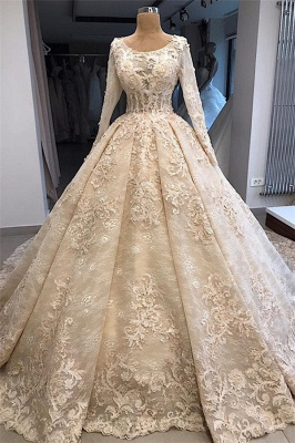 luxurious Scoop Long Sleeves Wedding Dresses | Lace Appliques Ball Gown Bridal Gowns_1