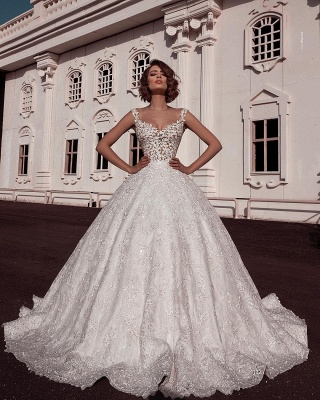 Elegant Scoop Sleeveless Lace Wedding Dresses | Applique Ball Gown Bridal Gowns_1