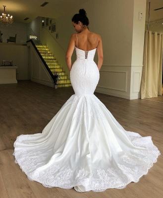 Modest Spaghetti-Strap Sleeveless Bridal Gownns | Mermaid Long 2021 White Wedding Dresses BC1956_2