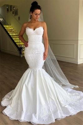 Modest Spaghetti-Strap Sleeveless Bridal Gownns | Mermaid Long 2021 White Wedding Dresses BC1956_1