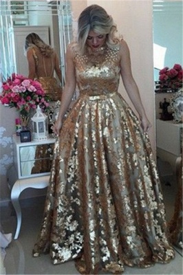 Gorgeous Sleeveless Beaded Prom Dress   Gold Sequins Evening Dresses on Sale_3