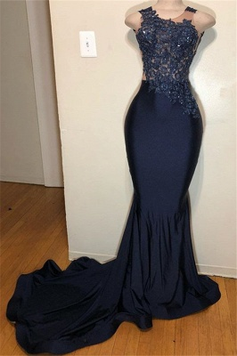 Dark Mermaid Sleeveless Applique Straps Blue Prom Dress_1