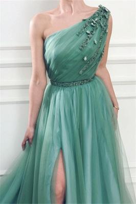 Elegant One Shoulder Tulle Prom Dresses | Ruffles Cheap Sashes Split Evening Dresses_4