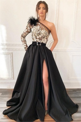Sexy One-Shoulder Applique Prom Dress | Blcak Feather Side-Slit Evening Dresses BC1688