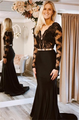 Sexy Long-Sleeves V-Neck Prom Dresses   Mermaid Black Lace 2021 Evening Gowns BC2362_1