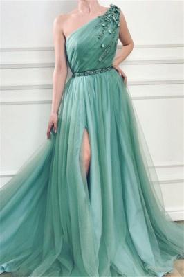 Elegant One Shoulder Tulle Prom Dresses | Ruffles Cheap Sashes Split Evening Dresses_2