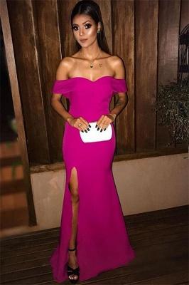 Glamorous Off-the-Shoulder Sweetheart Evening Dresses | Mermaid Side Split 2021 Prom Dresses_1