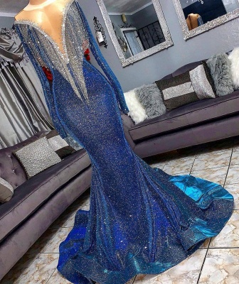Glamorous Blue Mermaid Prom Dresses | Long Sleeves Evening Gowns with Tassels_1